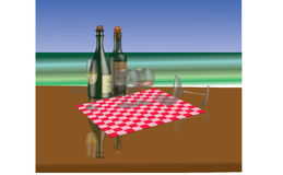 Vine  bottles and stemware on a sea view Royalty Free Stock Image