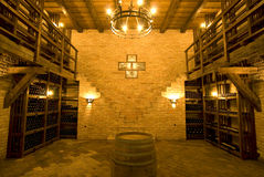 Vine cellar. With a barrel in front Stock Photography