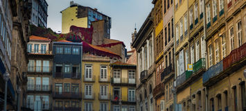 Vine covered buildings in historic Porto. Tightly grouped, colourful townhouses in old section of Porto, Portugal Stock Image
