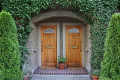 vine covered front door Stock Photo
