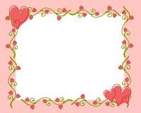 vine för valentin för hjärta s för 2 dag blommaram Royaltyfria Bilder