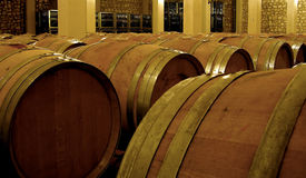 Vine fermentation in oak barrels. Vine storage and fermentation proces in oak barrels Royalty Free Stock Image