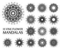 Vine Flower Mandalas Stock Photo