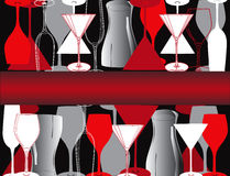 Vine glasses Bar lounge coffe Illustration vector Royalty Free Stock Image