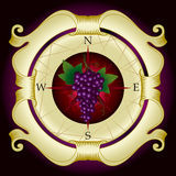 Vine label. Label with bunch of grapes Royalty Free Stock Image