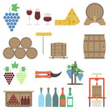 Vine making Flat icon Set Stock Photos