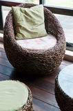 Vine metal weave chair in a cafe Royalty Free Stock Images