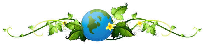 A vine plant border with the earth. Illustration of a vine plant border with the earth on a white background Stock Photos