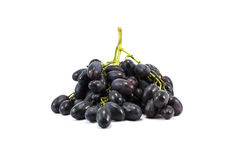 Vine of purple grapes isolated over white. Close-up of vine of purple grapes isolated over white Royalty Free Stock Image