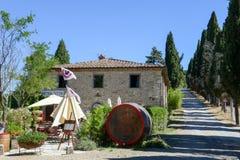 Vine shop near Castellina in Chianti on Tuscany, Italy. Castellina in Chianti, Italy - 7 July 2017: vine shop near Castellina in Chianti on Tuscany, Italy stock photo