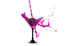 Vine splashes in glass isolated Stock Photo