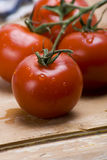Vine tomatoes. Delicious and fresh Italian vine tomatoes arranged on wooden table Stock Image