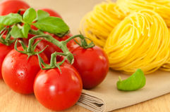 Vine Tomatoes With Pasta Stock Images
