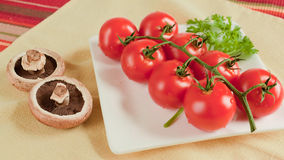 Vine tomatoes and two mushrooms Stock Photography