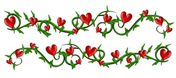 Vine With Valentine Hearts Borders Stock Image