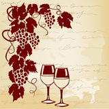 Vine and wine glasses on a vintage background Stock Photos