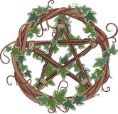 Vine wreath entwined with ivy and pentagram. On white, vector illustration, eps-10 Royalty Free Stock Photos