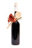 Vinegar. Bottle of balsamic vinegar with wooden spoon Stock Photo