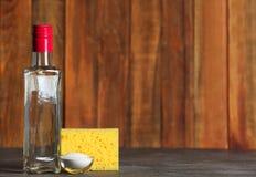 Vinegar, baking soda and sponge for cleaning stock photo