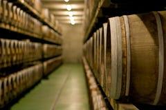 Vinegar Barrels. A large cellar where vinegar barrels are stored (former wine barrels Stock Photo