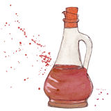 Vinegar bottle with cork and splashes of vinegar balsamic sauce. Stock Image