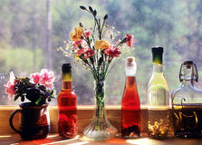 Vinegar bottles Stock Images