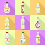 Vinegar icon set, flat style vector illustration