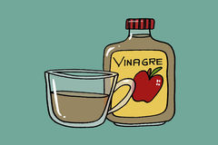 Vinegar. Jar and cup with vinegar, dark mint background illustration Royalty Free Stock Photography