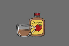 Vinegar. Jar and cup with vinegar, gray background illustration Stock Photo
