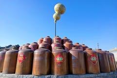 Vinegar jars. The vinegar jars are displayed in Baoyuan Vinegar Factory in Qinxu, Shanxi, China Royalty Free Stock Images