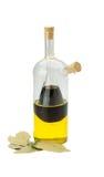 Vinegar, olive oil and laurel Stock Images
