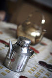 Vinegar Pot. A typical vinegar pot is put on table. In northwest of China, people favor the condiment Royalty Free Stock Images