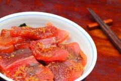 vinegared surowy ryżowy pokrojony nakrywający tuńczyk Fotografia Royalty Free