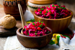 Vinegret ,traditional Russian and the Ukrainian vegetable salad with beet. Stock Photography