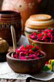 Vinegret ,traditional Russian and the Ukrainian vegetable salad with beet. Royalty Free Stock Image