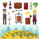 Vinery farm and vinery grape agriculture making vector. Royalty Free Stock Photography