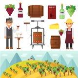 Vinery gospodarstwo rolne i vinery gronowy rolnictwo robi wektorowi Fotografia Royalty Free