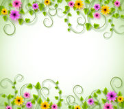 Vines Background for Spring Season with Realistic Colorful Flowers. And Leaves with Space for text. Vector Illustration Stock Photography