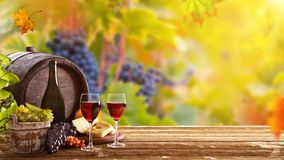 Vines with grapes and old cask on vintage wooden table. Stock Photo