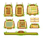 Vines and Leaves Game GUI Set. Collection of vines, leaves, and wooden game buttons, windows, icons, and other user interface elements set for creating 2d video stock illustration