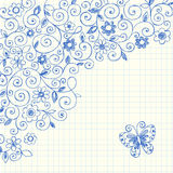 Vines Sketchy Notebook Doodles on Graph Paper. Vector Illustration of Hand-Drawn Sketchy Notebook Doodle Vines and Butterfly on Graph (Grid) Paper Background Royalty Free Stock Photo
