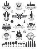 Vinetiketter och logoer Arkivbilder