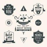 Vinetikettuppsättning royaltyfri illustrationer