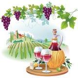 Vinexponeringsglas, flaska och druvor i vingård Arkivbilder