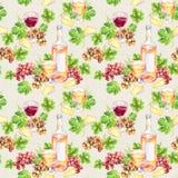 Vinexponeringsglas, flaska, ost, sidor, druva Seamless bakgrund vattenfärg Royaltyfria Foton