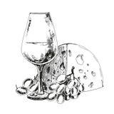 Vinexponeringsglas med ost och druvor Royaltyfri Fotografi