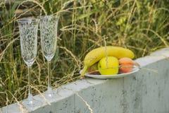 Vinexponeringsglas med prydnader och frukter i familjgården Royaltyfri Foto