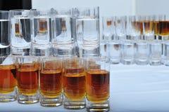 Vinexponeringsglas med vodka och konjak Arkivfoton