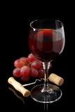 Vinexponeringsglas och druvor på svart Royaltyfria Bilder