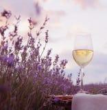 Vinexponeringsglas och lavendel Arkivfoton